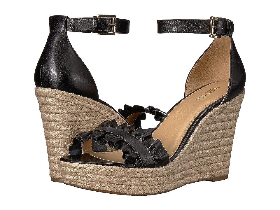 MICHAEL Michael Kors Bella Wedge Sandal (Black Nappa) Women