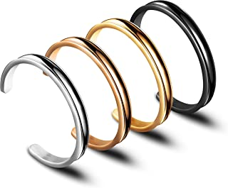 Zuo Bao Hair Tie Bracelet High Polishing Stainless Steel Grooved Cuff Bangle for Women Girls