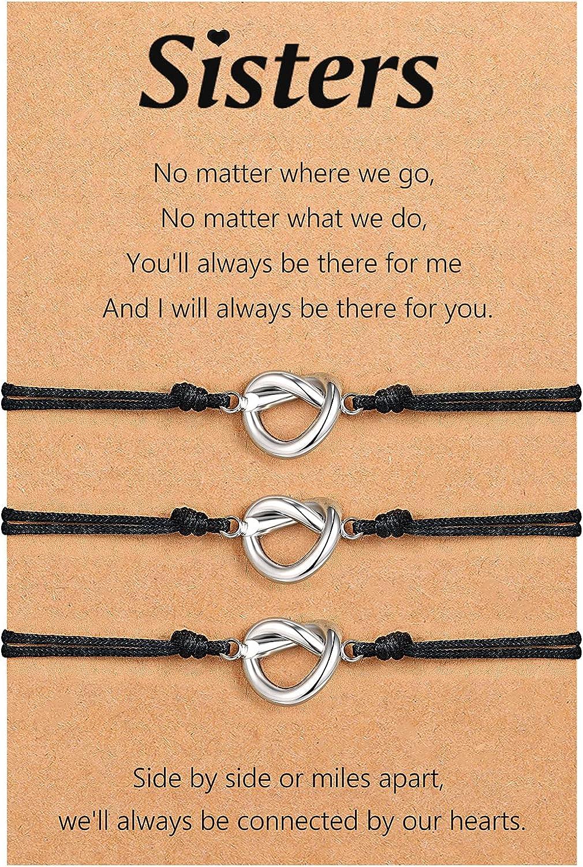 UNGENT THEM 2/3/4PCS Love Knot Friendship Adjustable Bracelet fo