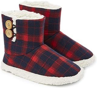 Dunlop Slippers for Women, Faux Sheepskin Fur Bootie Slippers Women, Warm Winter Slipper Ankle Boots, Memory Foam Plush Ho...