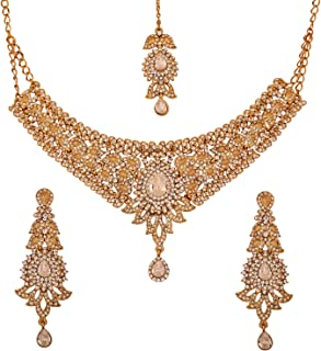 Touchstone Indian Bollywood Very Attractive Traditional Beautiful Paisley Motif Rhinestone Grand Bridal Designer Jewelry Necklace Set Women in Antique Gold Tone