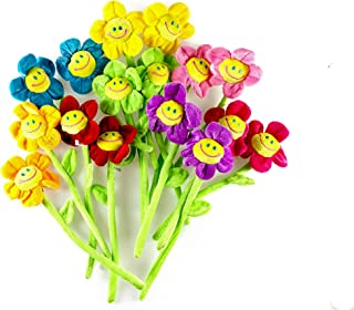 16PCS Daisy Plush Flowers Smiley Face, 13 Inches Long Bendable Stems 8 Assorted Colors Happy Smiles Sunflowers Gift for Boys and Girls