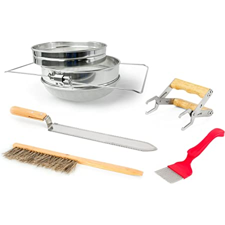 VIVO Honey Harvesting Beekeeping Starter Tool Kit, Set of 5, Double Sieve Honey Strainer, Frame Holder, Brush, Uncapping Knife, Uncapping Fork BEE-KIT4