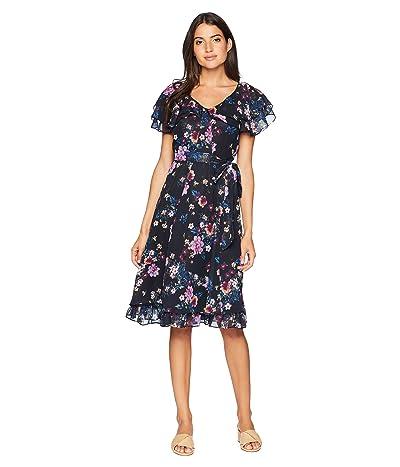 Tahari by ASL Chiffon Floral Midi Dress (Navy/Fuchsia/Royal) Women