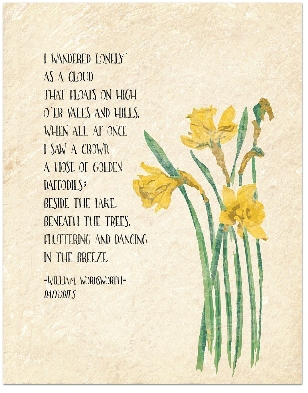 Quality inspection Golden Daffodils William Wordsworth Inspirational Literary Quote unisex