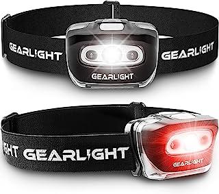 چراغ قوه چراغهای جلو GearLight S500 [2 PACK] - چراغهای جلو ، در حال اجرا ، کمپینگ و در فضای باز - بهترین چراغ سر با چراغ ایمنی قرمز برای بزرگسالان و کودکان