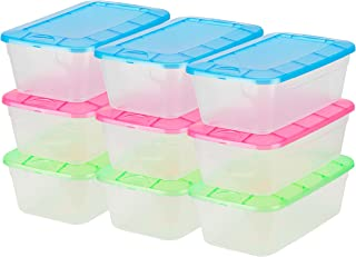 DecorRack Clear Plastic Storage Containers, Shoe Boxes, Stackable, Also Perfect for Toy Storage or as Cat and Dog Food Container, Assorted Colors (9 Pack)