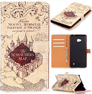 640 Case,Microsoft Nokia Lumia 640 Cover - Hogwarts Marauder's Map Pattern Premium PU Leather Wallet Case Stand Cover with Card Slots Cash Compartment for Microsoft Nokia Lumia 640