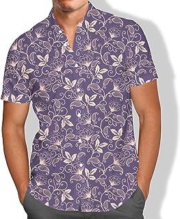 Camisa Praia Flores Lavanda Moda Masculino