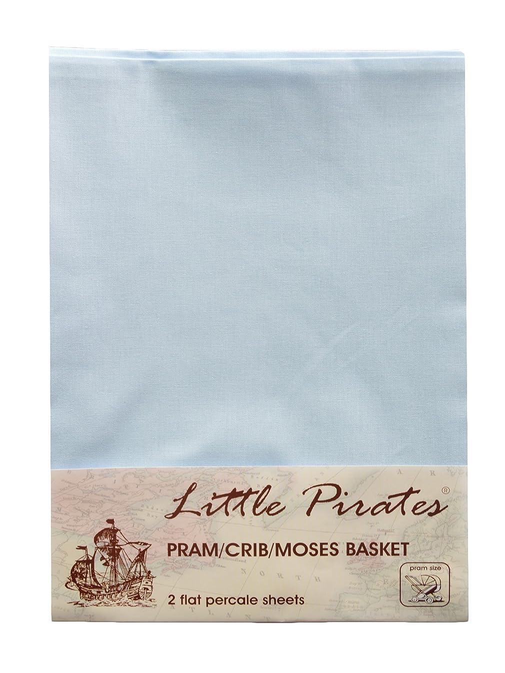 2 pack Baby Pram/Stroller/Bassinet/Cradle/ Moses Basket Blue Flat Sheet, 100% Luxury Brushed Cotton …