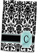 """3dRose 3D Rose Letter C Monogrammed Mint Blue Black and White Damask Pattern-Classy Personalized Initial Towel, 15"""" x 22"""", Multicolor"""