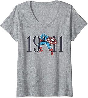 Femme Marvel Retro 1941 Captain America Stance T-Shirt avec Col en V