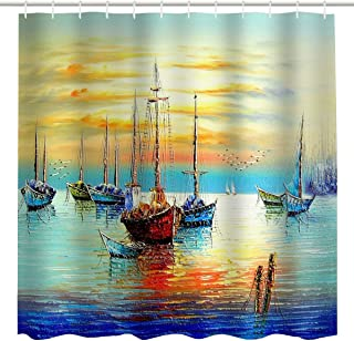 BROSHAN Nautical Shower Curtain Fabric,Vintage Pirate Ship Colorful Watercolor Sailboat Turquoise Yellow Blue Art Print,Waterproof Bathroom Decor Set with Hooks,72x72 Inch