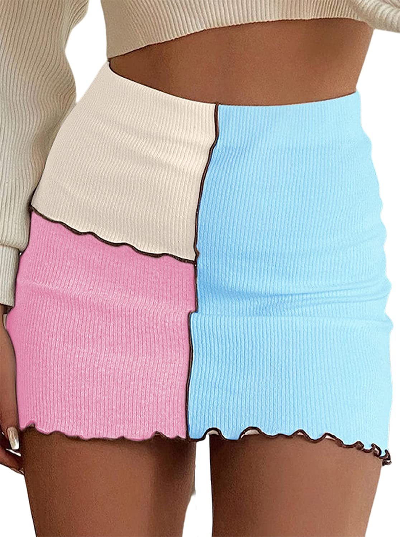 Avanova Women's High Waist Ribbed Knit Mini Skirt Colorblock Stitch Bodycon Pencil Skirt
