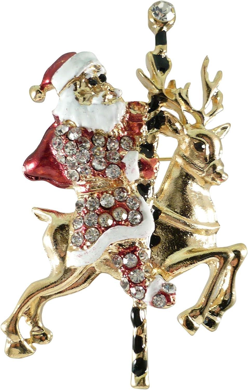 Bejeweled Christmas Goldtone Santa on Reindeer Carousel Pin 277