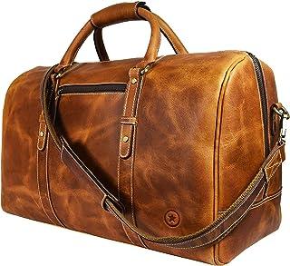 AARON LEATHER GOODS VENDIMIA ESTILO レザートラベルダッフルバッグ|ジムスポーツバッグ飛行機荷物キャリーオンバッグにより、