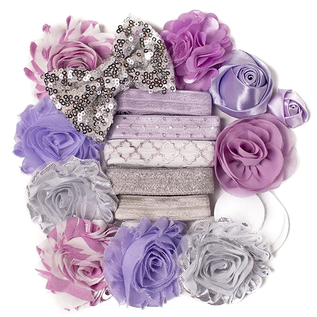 Guinevere : Lavender & Silver Sparkle DIY Deluxe Mini Headband Kit Makes 5-10 Headband Hair Accessories : Shabby Chiffon Craft Roses FOE Fold Over Elastic : Princess Parties & Baby Showers