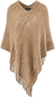Women's Elegant Cozy Poncho Sweater Chevron Stripes Fringes