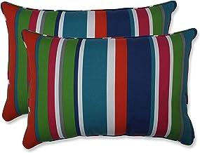 وسادة مثالية في الهواء الطلق | وسادة أريكة شريطية في الأماكن الداخلية St. Lucia (مجموعة من 2)، 24.5 × 16.5 × 5، أزرق