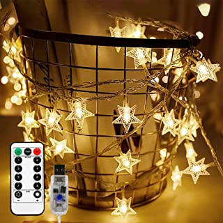 Briignite Star String Lights 100 Led 34ft Remote Control, Led le Lights Indoor Fairy Lights 8 Modes Warm White, USB Powere...