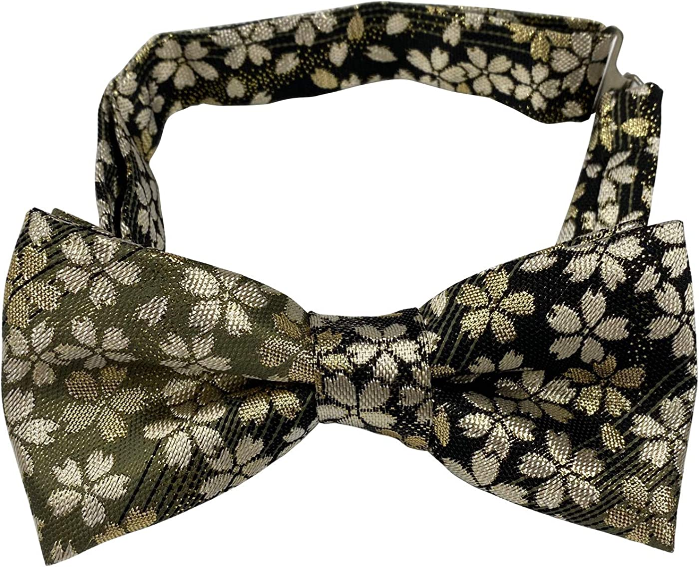 FORTUNA Tokyo Men's Pre-Tied Adjustable Butterfly Bow Tie -24. Eternal Beauty Cherry Blossoms Pattern Made in Japan
