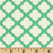 Trellis Turquoise from the Up Parasol collection by Heather Bailey for FreeSpirit Fabrics - Green Ivory Greek Key (Half yard)