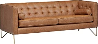 Rivet Brooke Contemporary Mid-Century Modern Tufted Leather Sofa Couch, 82