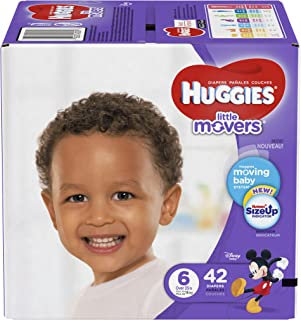 HUGGIES LITTLE MOVERS Diapers, Size 6 (35+ lb.), 42 Ct. (Packaging May Vary), Baby Diapers for Active Babies