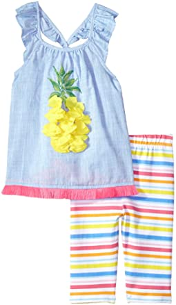 Mud Pie Pineapple Ruffle Tunic & Capris Two-Piece Set (Toddler)
