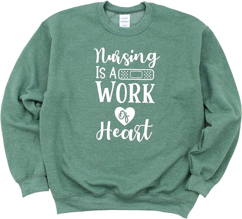 Nursing is A Work Max 54% OFF of 4 years warranty Heart Crewneck Sle Sweatshirt Long Unisex