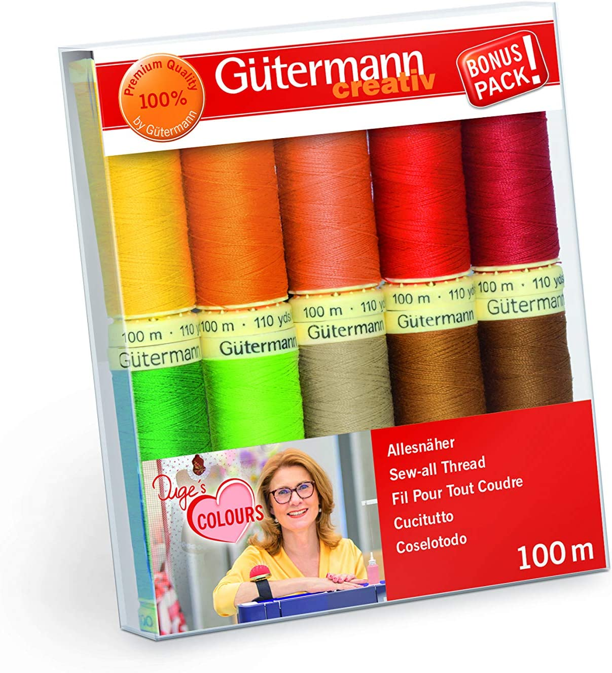 70 m x 20 Spulen Gutermann GUT/_702165-1 Stickgarn-Set Polyester mehrfarbig Einheitsgr/ö/ße