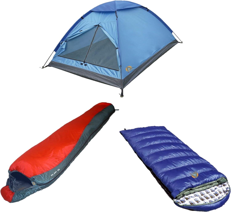 High Peak USA Alpinizmo Kodiak 0 Sleeping + Lite Pak 20 with Monodome 3 Tent Combo Set, blueee Red, One Size
