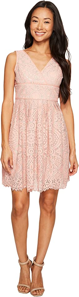 Petite Ella Mosaic Lace V-Neck Fit and Flare Dress