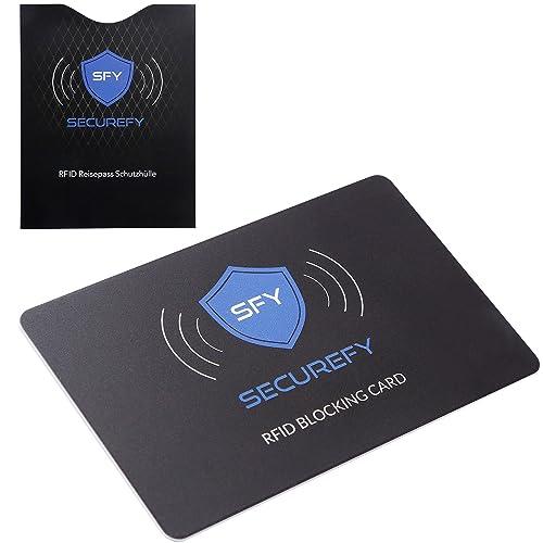 SECUREFY® RFID Blocker Karte 3.0 + Gratis RFID REISEPASS SCHUTZHÜLLE - Nur eine einzige Schutzkarte schützt Ihren gesamten Geldbeutel vor RFID - NFC - 13.56Mhz