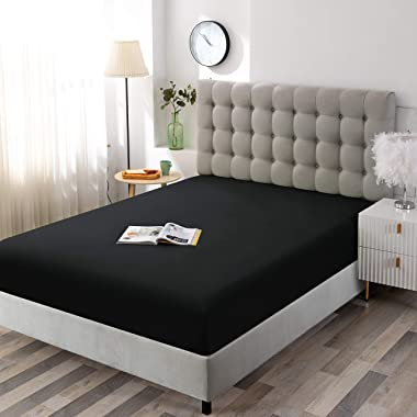 Sfoothome Black Fitted Sheet, 14 Inch Pocket Deep, Microfiber Sheets, Queen Size