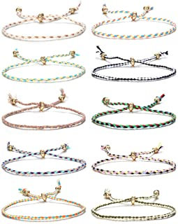 Jstyle 10Pcs Friendship Braided Bracelet for Women Girls Colorful Handmade String Wrap Bracelets for Wrist Anklet Cord Adjustable Birthday Gifts