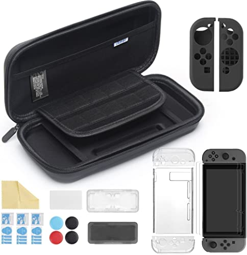 iAmer 11 in 1 Starter Kits for Nintendo Switch, Carrying Case +Transparent Cover+3pcs Screen Protector for Switch+Sil...