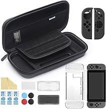 iAmer 11 en 1 Accesorios para Nintendo Switch, con Funda Switch+Funda Transparente+3 Protector de Pantalla+Funda de Silicona +4 Pulgar Grips+2 Estuche De Juegos+Paño de Limpieza
