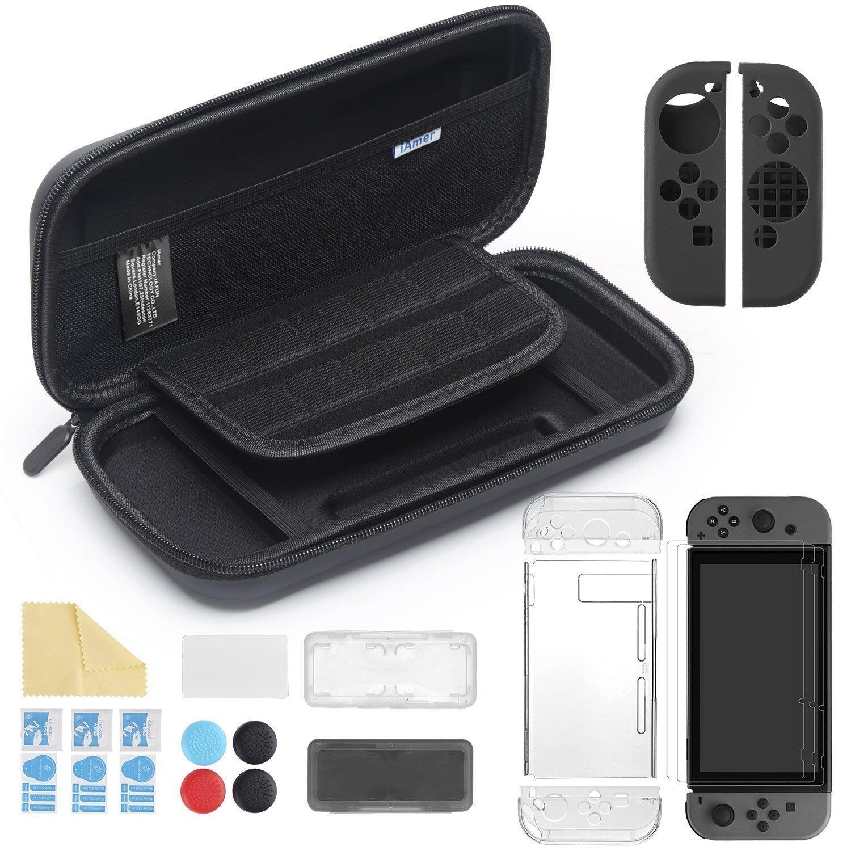 iAmer 11 en 1 Accesorios para Nintendo Switch, con Funda Switch+Funda Transparente+3 Protector de Pantalla+Funda de Silicona +4 Pulgar Grips+2 Estuche De Juegos+Paño de Limpieza: Amazon.es: Electrónica