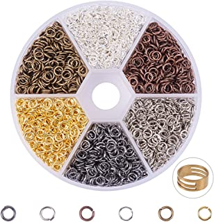 PandaHall Elite About 3300 Pcs Iron Open Jump Rings Unsoldered Diameter 4mm Wire 21-Gauge 6 Colors for Jewelry Findings