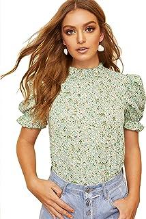 c643a8d0b Romwe Women's Floral Print Ruffle Puff Short Sleeve Casual Blouse Tops
