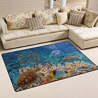 Naanle Ocean Animal Area Rug 3'x5', Tropical Beach Sea Turle Polyester Area Rug Mat for Living Dining Dorm Room Bedroom Home Decorative