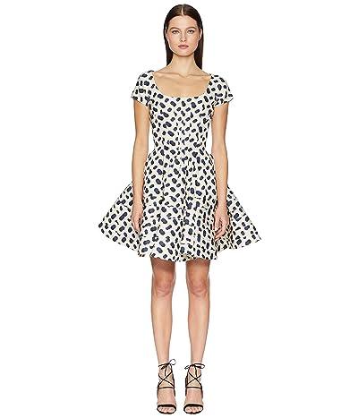 Zac Posen Polka Dot Printed Dress (Multi Ivory/Navy/Black) Women