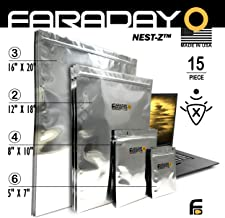 Faraday Cage Military Grade Uber Thick EMP ESD Solar Flare Bags 15pc 2-Metal Layer, Fully-SPECCED, Heavy Duty Electro-Shie...