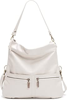 product image for Light Stone White Italian Leather Medium Convertible Foldover Crossbody