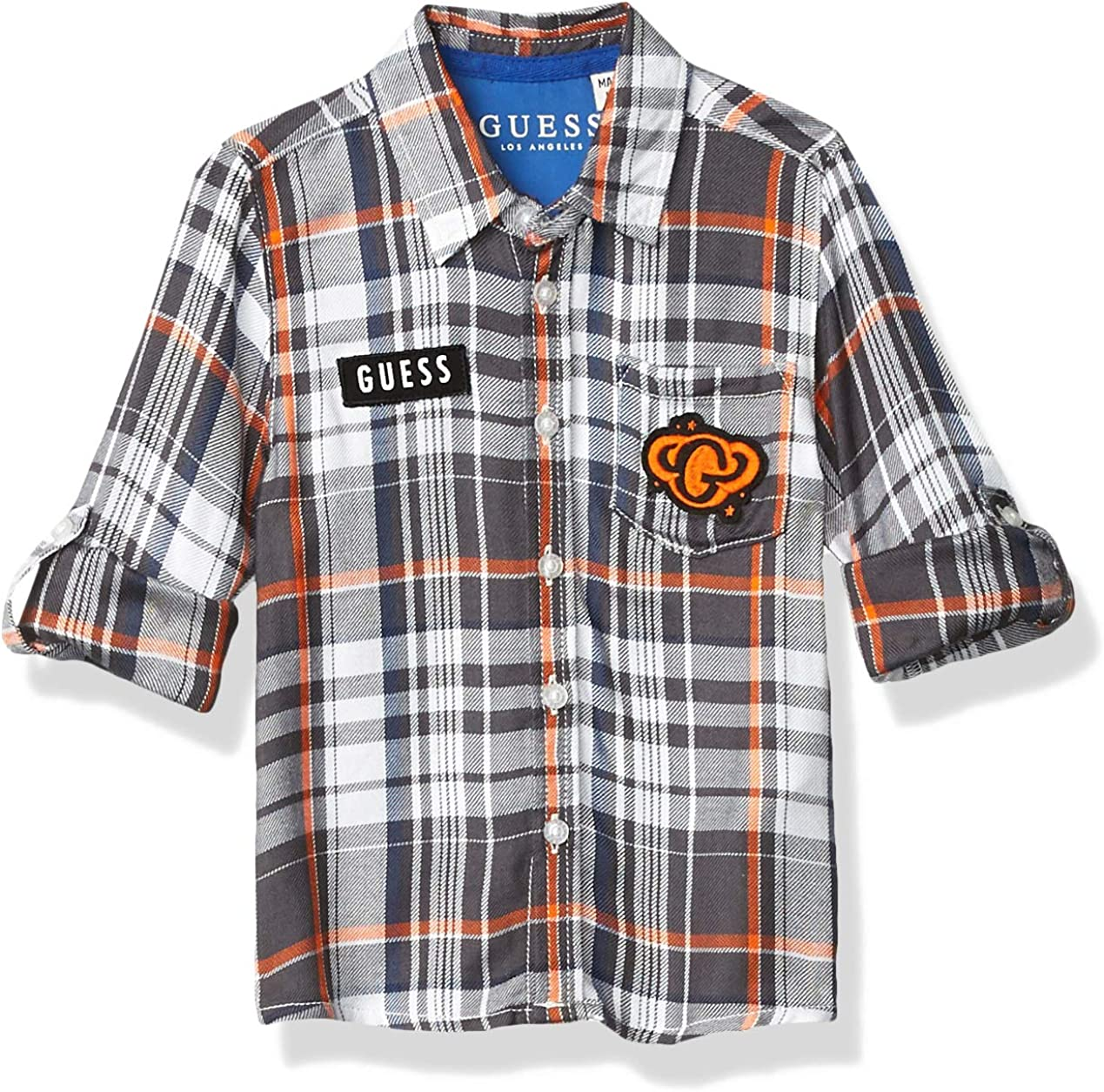 GUESS Boys' Little Long Sleeve Space Graphic Button Down Plaid Shirt