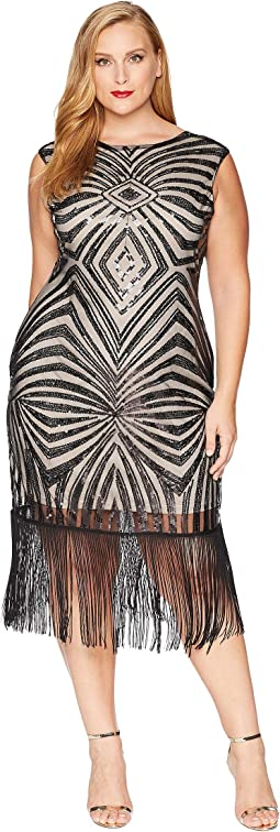 Plus Size Sequin & Fringe Sandrine Flapper Dress