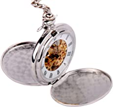 ShoppeWatch Skeleton Pocket Watch Mechanical Movement Hand Wind Full Hunter Silver Tone Engravable Ideal as Groomsmen Watches PW20