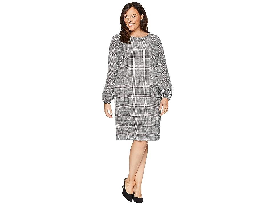 LAUREN Ralph Lauren Plus Size Hollyann Long Sleeve Day Dress (Ivory/Black) Women