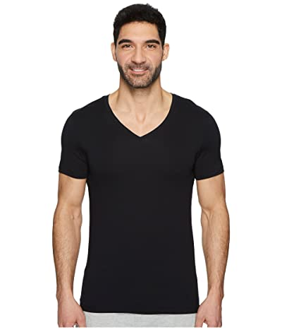 Hanro Cotton Superior V-Neck Shirt (Black) Men